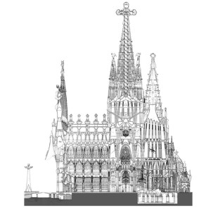 One of Gaudi's drawings of Sagrada Familia