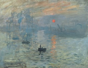 Impression, Sunrise by Claude Monet (1872) featured a tiny but vivid orange sun against a blue background. The painting gave its name to the Impressionist movement.