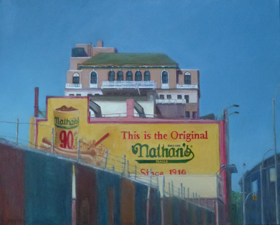 Coney Island Nathan's Backyard 24x36 Oil/Linen
