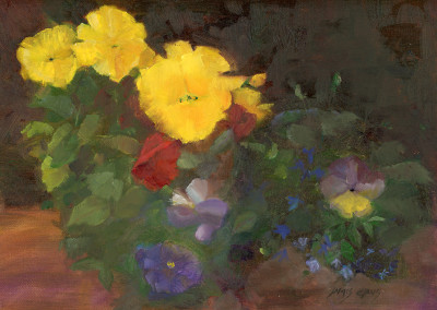 Three Yellow Pansies